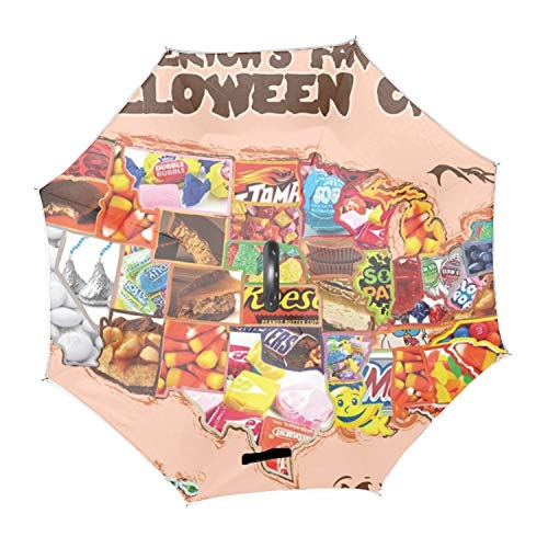 Halloween Map Candy Double Layer Folding Inverted Anti-UV Protection Umbrellas Upside Down Umbrella for Car