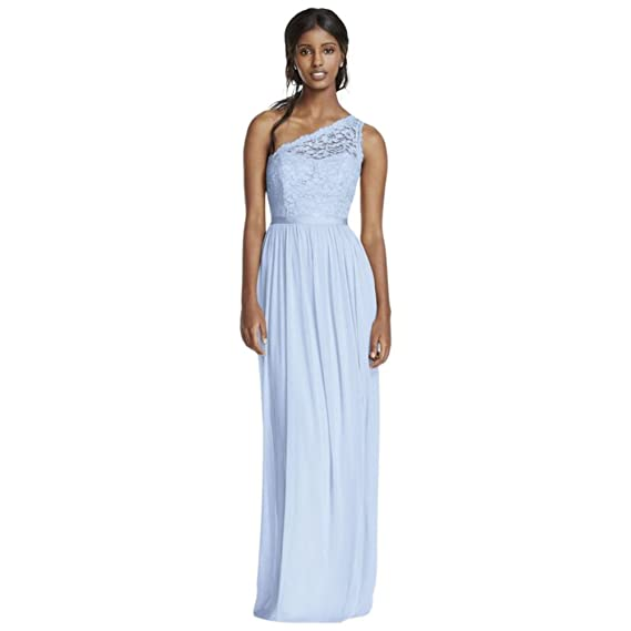 1d2c8abf109 One Shoulder Extra Length Corded Lace Mesh Bridesmaid Dress Style 4XLF17063  at Amazon Women s Clothing store