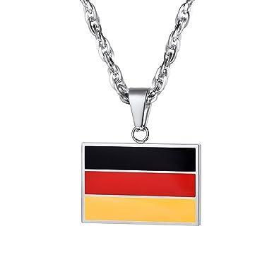 8099fb3f267 PROSTEEL Collier Homme Acier Chaîne avec Pendentif Plaque Drapeau Allemagne  Noir Rouge Jaune Bijoux Tendance pour