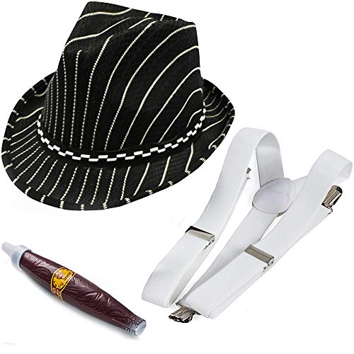 Funny Party Hats Gangster Costume - 3 Pc Set - 1920's Mens Costume - Mobster Hat White Black … (Gangster Hat, Suspenders, Cigar) ()