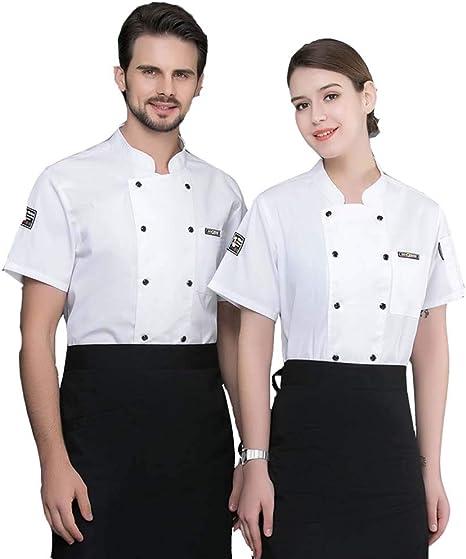 Chef Uniform Respirable Verano Cocina Chaqueta de Cocinero Restaurante Hotel Camarero Manga Corta Camisa de Trabajo para Unisex: Amazon.es: Deportes y aire libre