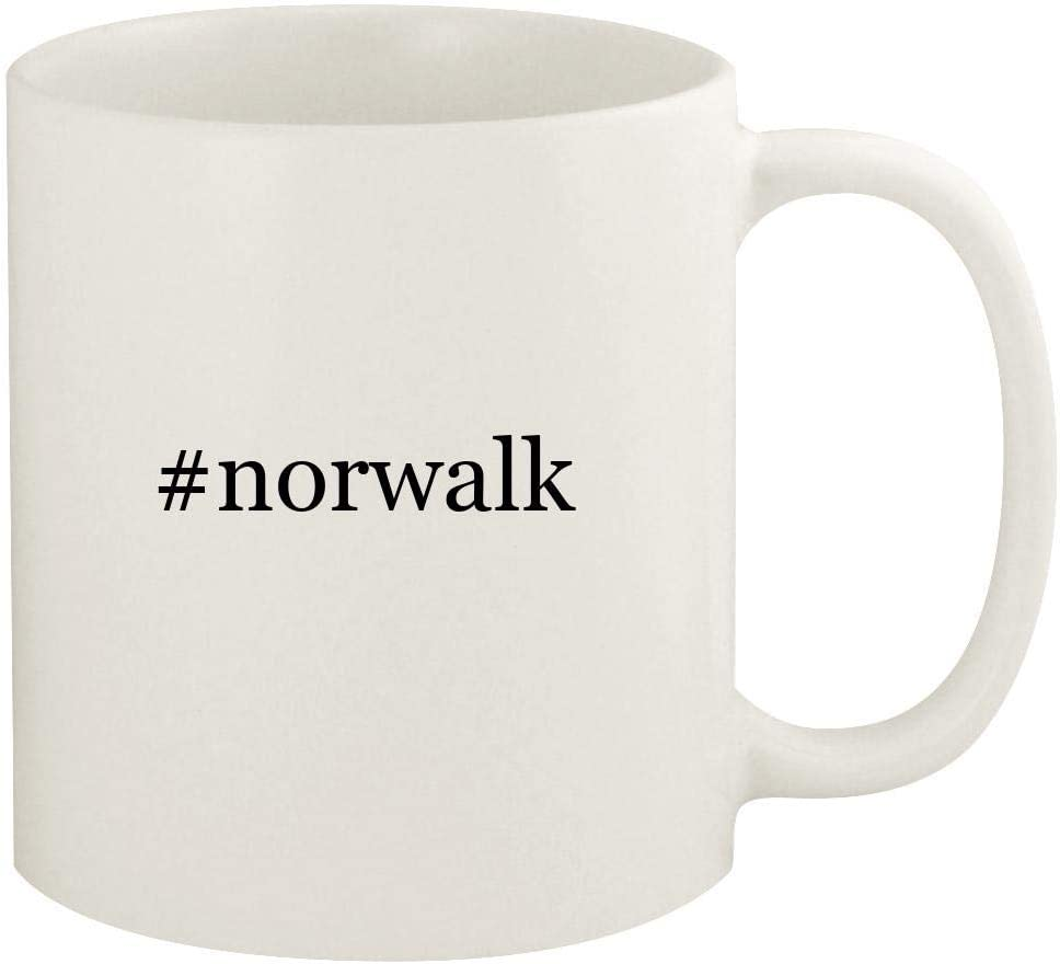 #norwalk - 11oz Hashtag Ceramic White Coffee Mug Cup, White
