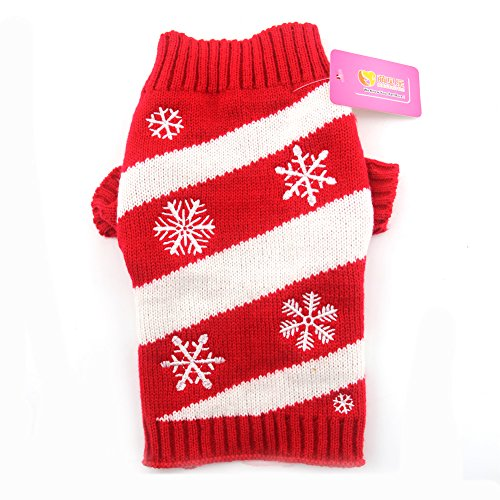 DOGGYZSTYLE Vintage Christmas Themed Holiday Festive Pet Cat Dog Sweater Jumper Clothes (L, Snowflake)