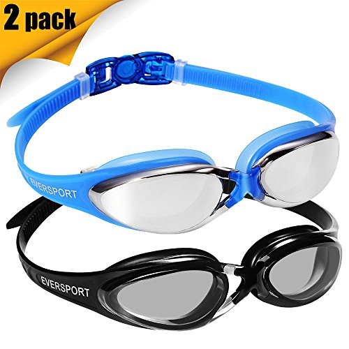 Swim Goggles, Pack of 2, Pro Swimming Goggle, Comfortable Fit Swimming Glasses For Men, Women, Adults, Youth, Crystal Clear Wide Vision Water Goggles, Leakproof, Anti Fog, Anti UV(Black/Mirrored Blue)