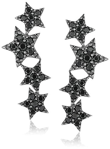 Sterling Silver Black Spinel Ear Climbers Earrings Black Spinel Earrings