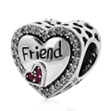 Best Fit Pandora Charms Friend Heart Charms - 925 Sterling Silver Heart Charm Friend Charm Friendship Review