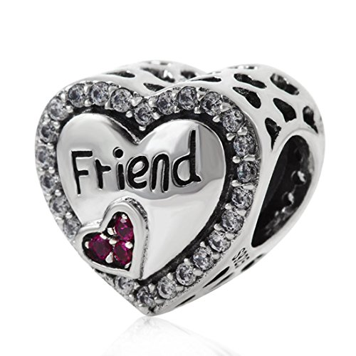 925 Sterling Silver Heart Charm Friend Charm Friendship Charm Anniversary Charm Christmas Charm for Pandora Charms Bracelet (Best Friend Pandora Bead)