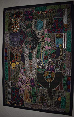 Tribal Asian Textiles Antique Embroidered Patchwork Wall Hanging Tapestry Table Runner Indian Handmade