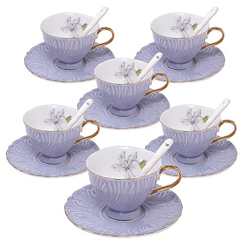 ufengke 4oz Coffee Cup Set,Small Capacity Porcelain Coffee Tea Sets,Set of 6 Ceramic Tea Cup and Saucer-Purple