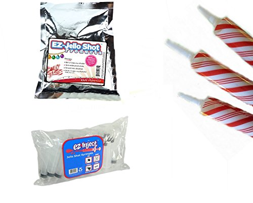 25 EZ Squeeze Christmas Jello Syringe Injectors with Peppermint Mix and Candy Cane (Halloween Drinks Tipsy Bartender)