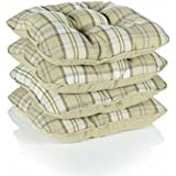 Lewis Tartan Check Piped Chunky Dining Kitchen Seat Pads, Mustard - Set of 4 by Dove Mill Kitchen