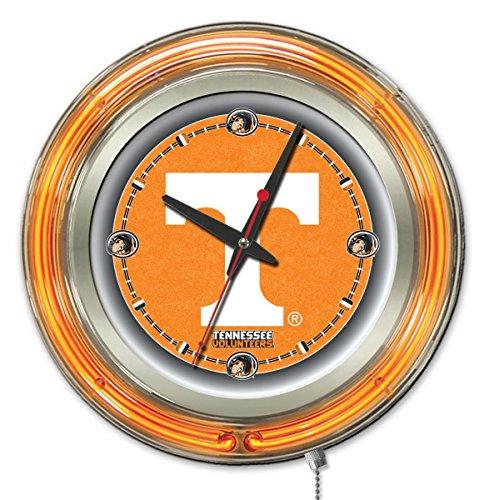 """Tennessee Volunteers HBS Neon Orange College Battery Powered Wall Clock (15"""")"""