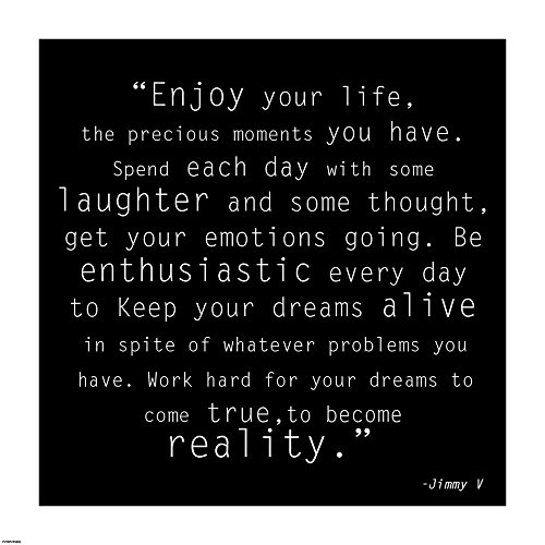 Enjoy Life, Jimmy V Quote Art Print, 8 x 8 inches