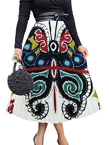 Women Color Block Butterfly Print Pleated A Line Midi Skirt White - Print Block Butterfly