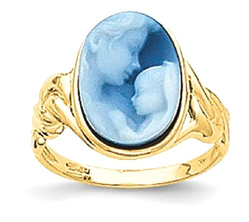 ICE CARATS 14k Yellow Gold Heavens Gift Agate Cameo Band Ring Size 7.00 Stone Fine Jewelry Gift Set For Women Heart (Gift Heavens Agate 14k)