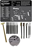 Wheeler 672215 Universal Bench Block + Ultimate Arms Gear Bench Gun Mat Sig Sauer P229 + 8pc Steel Pin Punch Tool Set + Brass Head Hammer + 3-Double Ended Brushes + 2-Curved Picks
