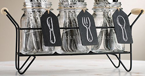 American Reproductions Set of 3 Mason Jar Flatware Caddy Organizer with Handles and Chalkboard Signs (Authentic)
