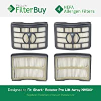 4 - FilterBuy Shark Rotator Pro Lift-Away NV500 Replacement Filters, Part # XHF500. Designed by FilterBuy to fit Shark Rotator Pro Lift-Away model NV500
