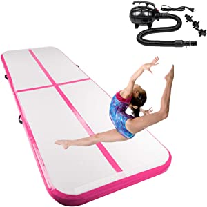 10'x3.3' Gymnastics Exercise Mat Inflatable Tumbling Mats, Air Tumbling Track with Electric Pump for Home use, Gymnastics Training, Beach, Yoga, Water