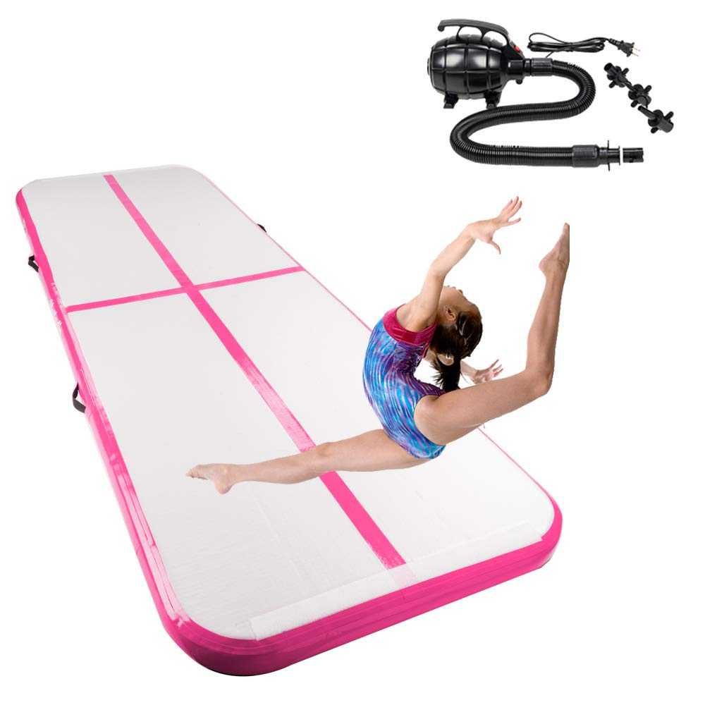 matladin 10 ' x3.3 ' Inflatable体操タンブルマット、エアトラックマットwith Air Pump forホーム使用、アウトドア、ジム使用 B07D57N5K3 ピンク