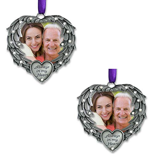 BANBERRY DESIGNS in Memory Photo Ornament - Always in My Heart - Angel Wings Picture Christmas Ornament with a Remembrance Saying on The Card - Sympathy Gifts - Bereavement Gifts- 2 Pack - Pewter Angel Photo Frame