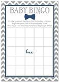Baby : 24 Bow Tie Baby Shower Bingo Cards - Littel Man Boy Baby Shower Game (Navy)