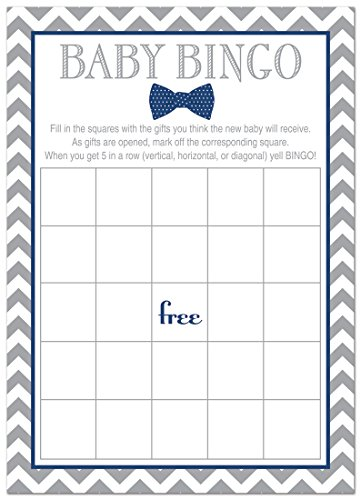 24 Bow Tie Baby Shower Bingo Cards - Littel Man Boy Baby Shower Game (Navy)