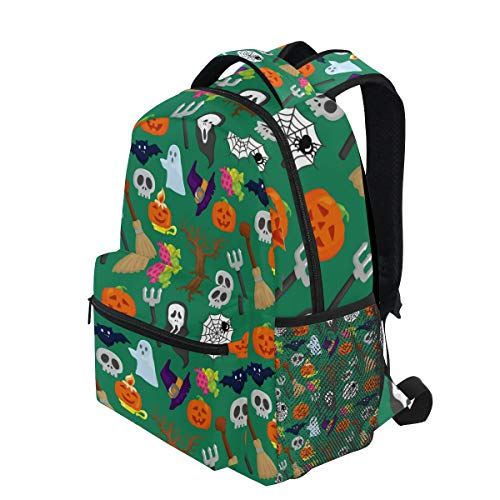 KUDOUXIA School Backpack Cartoon Halloween Pattern 1st Grade Lightweight Bookbag Daypack Fits Small Laptop for Kids Teens Travel Bag with 2 Side Pouchs Adorable 16