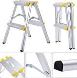 K&A Company Aluminum Platform Step Folding Work Stool Ladder Non Slip Working Portable 2 Step 330 lbs Load Capacity