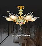 deer horn ceiling fans - European pastoral living room crystal ceiling ceramic lamps lighting French romantic bedroom den restaurant lights