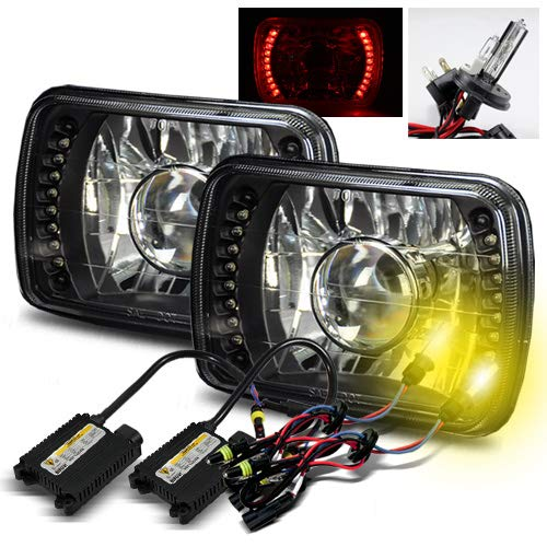 ModifyStreet 3000K Yellow H4-2 Low Beam Xenon/High Beam Halogen Slim HID/7x6 H6014/H6052/H6054 Black Projector Headlights with Red LED - Headlights Set Oldsmobile Bravada