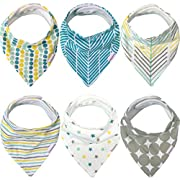 Baby Bandana Drool Bibs – 6 Pack Gift Set for Boys & Girls, Organic Cotton, 3 Snaps To Fit All Neck Sizes, Soft, Extra Absorbent, Easy To Clean, Unisex, Perfect Baby Shower Gift Set