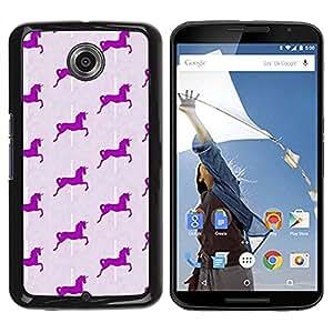 TopCaseStore / la caja del caucho duro de la cubierta de protección de la piel - Unicorn Pattern Horse - Motorola NEXUS 6 / X / Moto X Pro