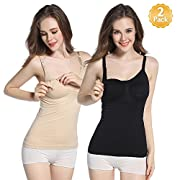 WETONG 2Pack Seamless Nursing Cami XL Tank Top with Built-in Maternity Bra for Breastfeeding