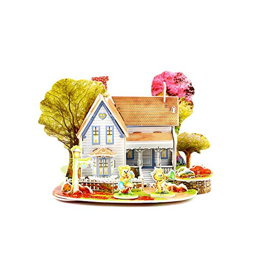 Weite 3D Paper Board Puzzles, [Romantic Cottage] Lifelike Early Learning Construction Assemble Toy Children Gift (Romantic Cottage)