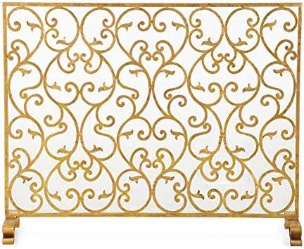 暖炉スクリーン MYL オープン火災/ガス火災/ログウッドバーナー用メッシュカバー、手作りのシングルパネルベビー安全火災スクリーンスパークガード付き大型フラットガード暖炉スクリーン (Color : Gold, Size : 97×21×78cm)