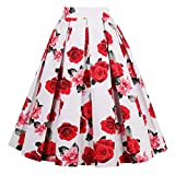 Girstunm Women's Pleated Vintage Skirt Floral Print A-Line Midi Skirts with Pockets White-Rose M