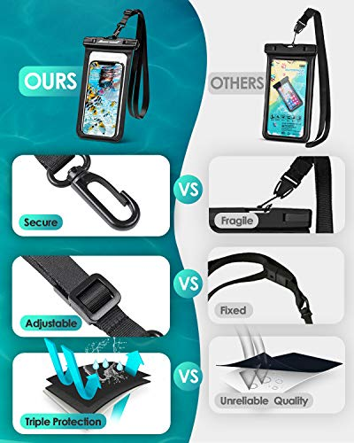 """Hiearcool Universal Waterproof Case,Waterproof Phone Pouch for iPhone 11 Pro Max XS Max XR X 8 7 6S Plus Samsung Galaxy s10/s9 Google Pixel 2 HTC Up to 7.0"""",IPX8 Cellphone Dry Bag -2 Pack"""