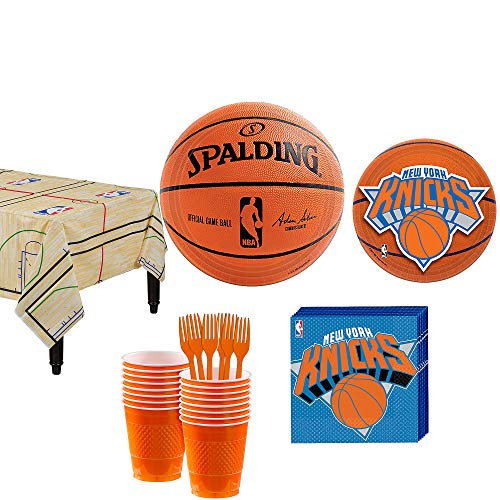 Party City New York Knicks Party Kit 16 Guests, Includes Table Cover, Plates, Napkins and More