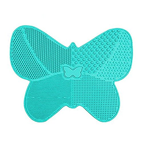 Makeup Brushes Cleaning Mat,Butterfly Shape Makeup Brush Cleaner Pad with Suction Cup Turquoise