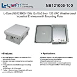 """L-Com (NB121005-100) 12""""x10""""x5"""" 120 VAC Weatherproof Industrial Enclosure with Mounting Plate"""