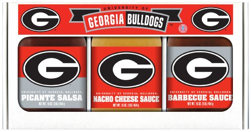 (Georgia Bulldogs NCAA Triple Play Gift Set (16oz BBQ Sauce, 16oz Picante Salsa, 16oz Cheeze Dip) )
