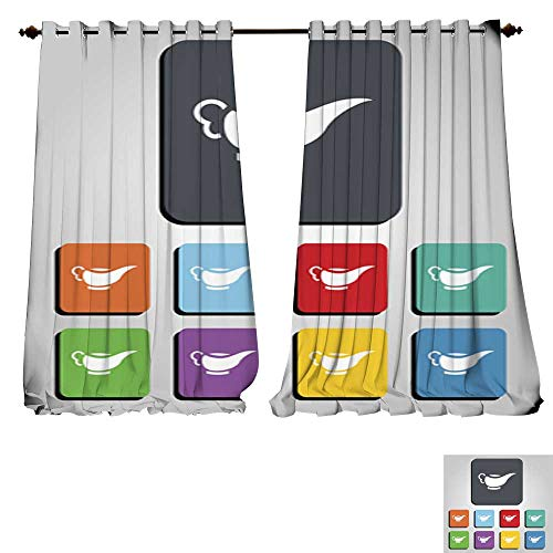 - DESPKON-HOME Drapes for Living Room Gravy Boat Vector Icon Illustration Tie Up Printed Blackout Curtain -W96 x L84/Pair