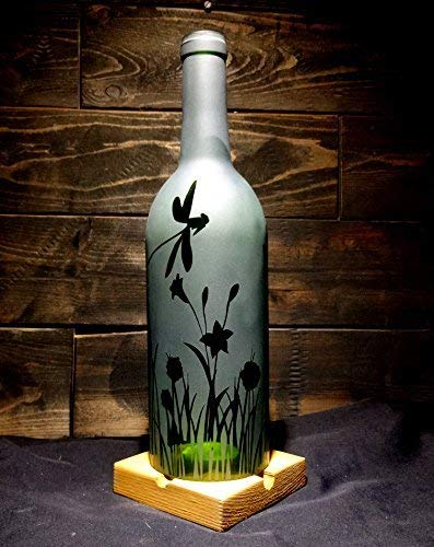 Wine Bottle Hurricane - Etched Recycled Wine Bottle Candle Shade Hurricane Lamp Dragonfly Flower Grass Engraved Handmade Repurposed