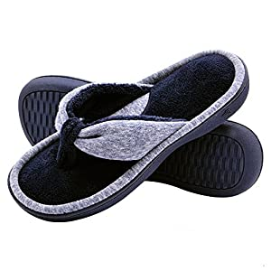 17a7f904a6522f Wishcotton Womens Jersey Flip Flop Slippers Open Toe Slip On Slippers
