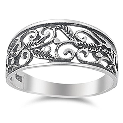 Oxidized Filigree Leaf Swirl Wide Ring New .925 Sterling Silver Band Size (Wide Filigree Swirl Ring)