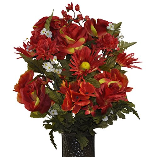 Fire red rose hydrangea mix Artificial Bouquet, featuring the Stay-In-The-Vase Design(c) Flower Holder (SM1403)