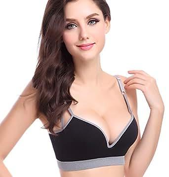 Ya Lida No rims sports bra sexy gather adjustable bra Black