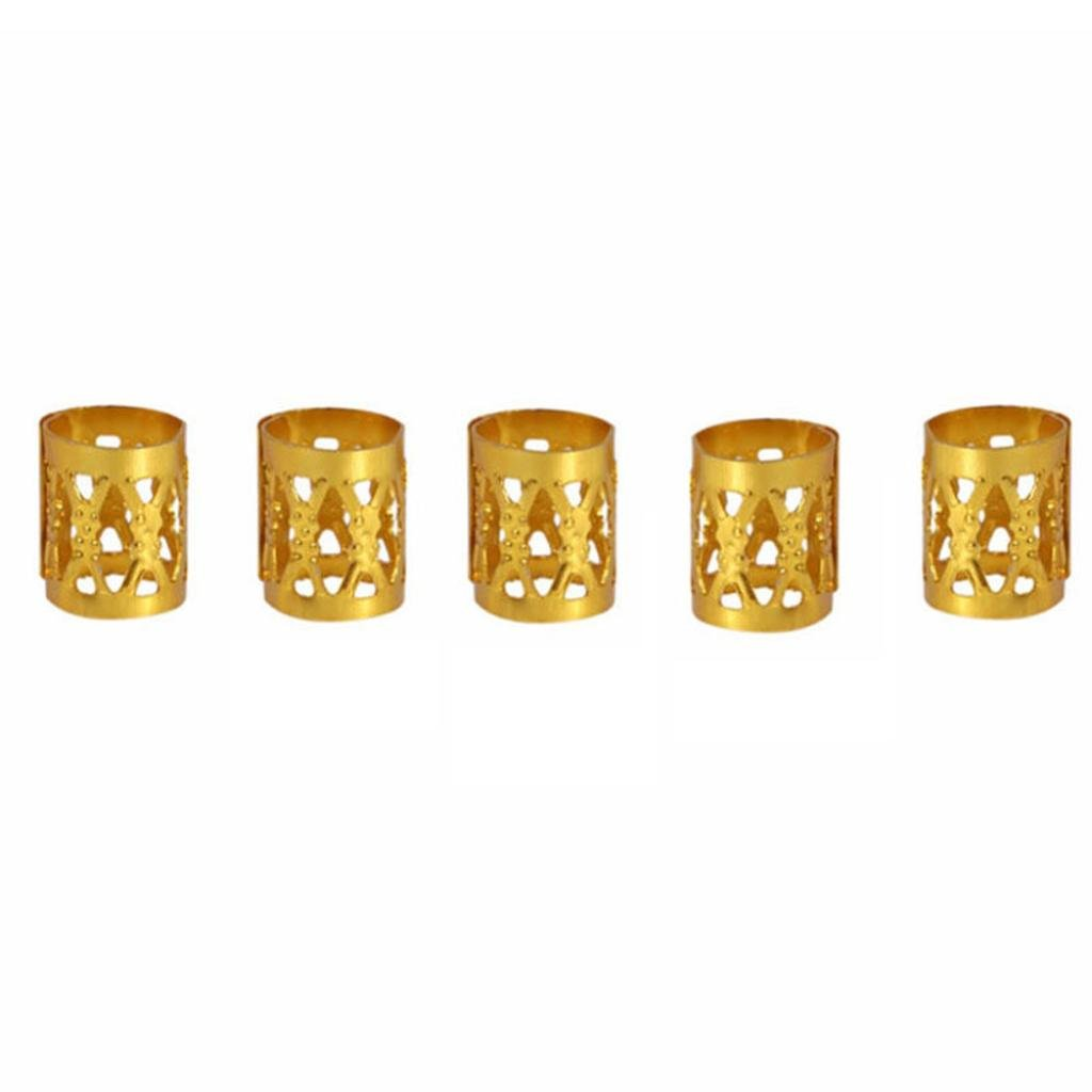 Black Friday Sale GreatFun 30 Pcs 8MM Dreadlock Beads Adjustable Hair Braid Rings (Gold)