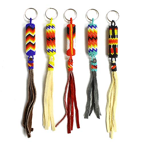 (Native Tassel Beaded Key Rings Chain Glass Artisan Beads Lot Wholesale 6 Pack Assorted)